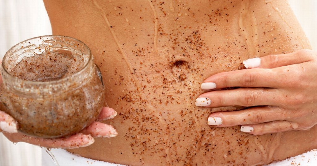 Woman-applying-body-scrub